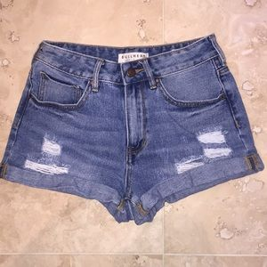 High-Rise Ripped Jean Shorts